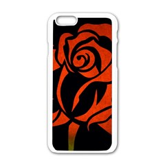 Red Rose Etching On Black Apple Iphone 6 White Enamel Case by StuffOrSomething