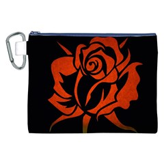 Red Rose Etching On Black Canvas Cosmetic Bag (xxl) by StuffOrSomething