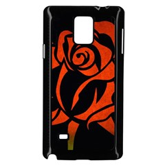Red Rose Etching On Black Samsung Galaxy Note 4 Case (black)