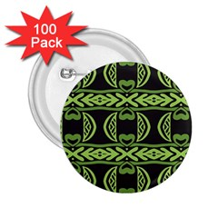 Green Shapes On A Black Background Pattern 2 25  Button (100 Pack) by LalyLauraFLM