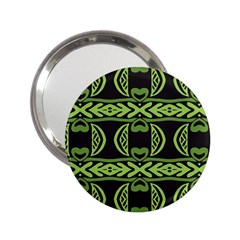Green Shapes On A Black Background Pattern 2 25  Handbag Mirror by LalyLauraFLM