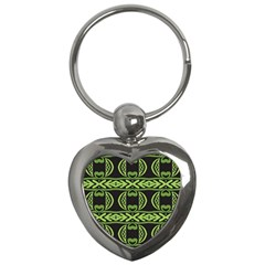 Green Shapes On A Black Background Pattern Key Chain (heart) by LalyLauraFLM