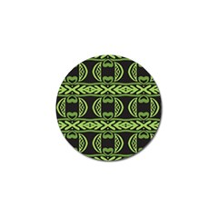 Green Shapes On A Black Background Pattern Golf Ball Marker (10 Pack) by LalyLauraFLM