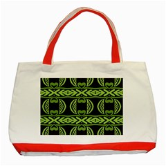 Green Shapes On A Black Background Pattern Classic Tote Bag (red) by LalyLauraFLM