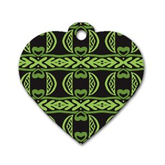 Green Shapes On A Black Background Pattern Dog Tag Heart (one Side) by LalyLauraFLM