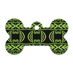 Green Shapes On A Black Background Pattern Dog Tag Bone (two Sides) by LalyLauraFLM
