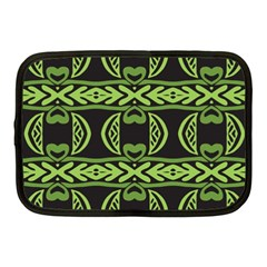 Green Shapes On A Black Background Pattern Netbook Case (medium) by LalyLauraFLM