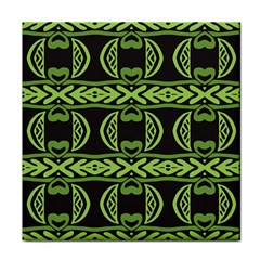 Green Shapes On A Black Background Pattern Face Towel by LalyLauraFLM