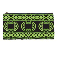 Green Shapes On A Black Background Pattern Pencil Case