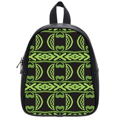 Green Shapes On A Black Background Pattern School Bag (small) by LalyLauraFLM