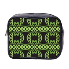 Green Shapes On A Black Background Pattern Mini Toiletries Bag (two Sides) by LalyLauraFLM