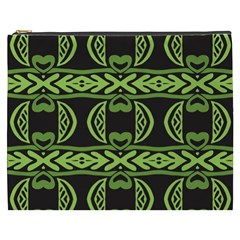 Green Shapes On A Black Background Pattern Cosmetic Bag (xxxl) by LalyLauraFLM