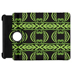 Green Shapes On A Black Background Pattern Kindle Fire Hd Flip 360 Case by LalyLauraFLM