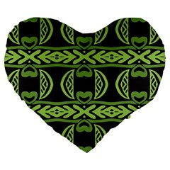 Green Shapes On A Black Background Pattern 19  Premium Heart Shape Cushion by LalyLauraFLM