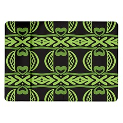 Green Shapes On A Black Background Pattern Samsung Galaxy Tab 10 1  P7500 Flip Case by LalyLauraFLM