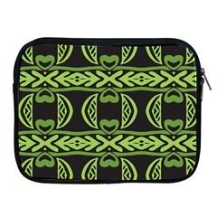Green Shapes On A Black Background Pattern Apple Ipad 2/3/4 Zipper Case by LalyLauraFLM