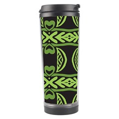 Green Shapes On A Black Background Pattern Travel Tumbler by LalyLauraFLM