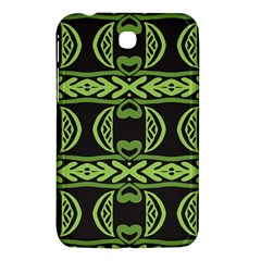 Green Shapes On A Black Background Pattern Samsung Galaxy Tab 3 (7 ) P3200 Hardshell Case  by LalyLauraFLM