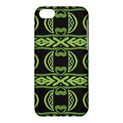 Green Shapes On A Black Background Pattern Apple Iphone 5c Hardshell Case by LalyLauraFLM