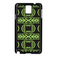 Green Shapes On A Black Background Pattern Samsung Galaxy Note 3 N9005 Case (black) by LalyLauraFLM
