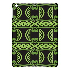 Green Shapes On A Black Background Pattern Apple Ipad Air Hardshell Case by LalyLauraFLM