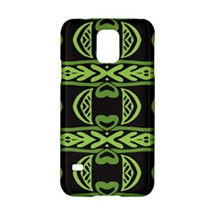 Green Shapes On A Black Background Pattern Samsung Galaxy S5 Hardshell Case  by LalyLauraFLM