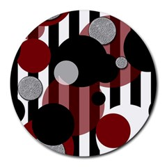 Black White Red Stripes Dots 8  Mouse Pad (round) by bloomingvinedesign