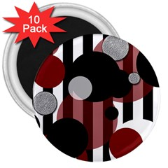 Black White Red Stripes Dots 3  Button Magnet (10 Pack) by bloomingvinedesign