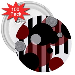 Black White Red Stripes Dots 3  Button (100 Pack) by bloomingvinedesign