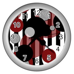 Black White Red Stripes Dots Wall Clock (silver) by bloomingvinedesign