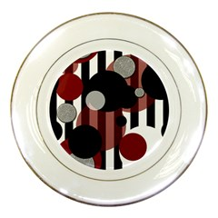 Black White Red Stripes Dots Porcelain Display Plate by bloomingvinedesign
