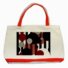 Black White Red Stripes Dots Classic Tote Bag (red) by bloomingvinedesign