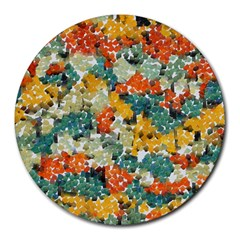 Paint Strokes In Retro Colors Round Mousepad by LalyLauraFLM