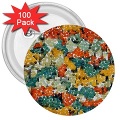 Paint Strokes In Retro Colors 3  Button (100 Pack) by LalyLauraFLM