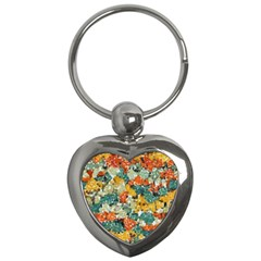 Paint Strokes In Retro Colors Key Chain (heart) by LalyLauraFLM