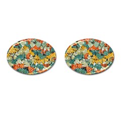 Paint Strokes In Retro Colors Cufflinks (oval) by LalyLauraFLM