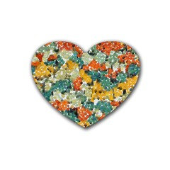 Paint Strokes In Retro Colors Heart Coaster (4 Pack) by LalyLauraFLM