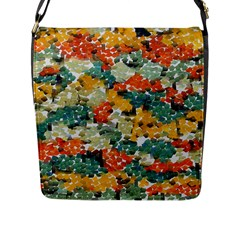 Paint strokes in retro colors Flap Closure Messenger Bag (Large) by LalyLauraFLM