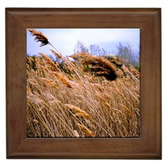 Blowing Prairie Grass Framed Ceramic Tile by bloomingvinedesign