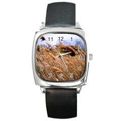 Blowing Prairie Grass Square Leather Watch by bloomingvinedesign