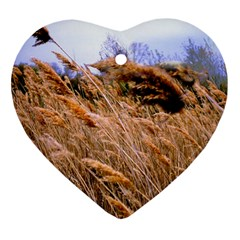 Blowing Prairie Grass Heart Ornament (two Sides) by bloomingvinedesign