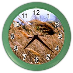 Blowing Prairie Grass Wall Clock (color) by bloomingvinedesign