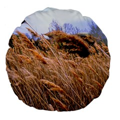 Blowing Prairie Grass 18  Premium Flano Round Cushion  by bloomingvinedesign