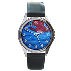 Blown Ocean Waves Round Leather Watch (silver Rim) by bloomingvinedesign