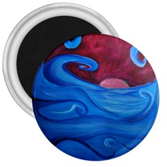 Blown Ocean Waves 3  Button Magnet by bloomingvinedesign