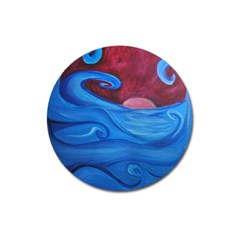 Blown Ocean Waves Magnet 3  (round) by bloomingvinedesign