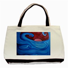 Blown Ocean Waves Twin Sided Black Tote Bag by bloomingvinedesign