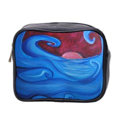 Blown Ocean Waves Mini Travel Toiletry Bag (two Sides) by bloomingvinedesign