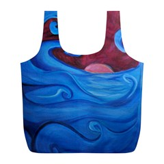 Blown Ocean Waves Reusable Bag (l) by bloomingvinedesign