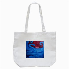 Blown Ocean Waves Tote Bag (white) by bloomingvinedesign